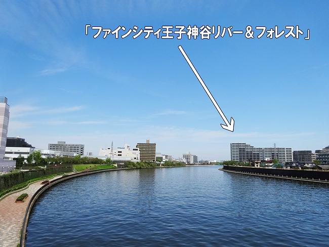 「新神谷橋」の上から現地方向を撮影