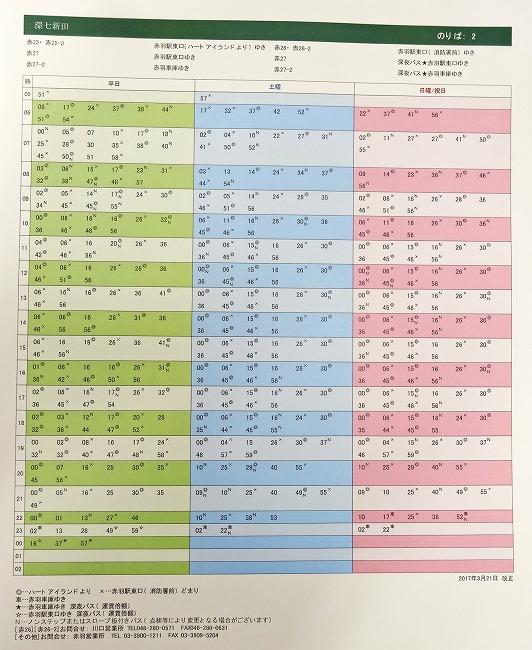 「環七新田」時刻表(赤羽駅東口行き)
