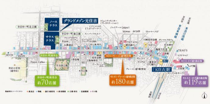 モトスミ・ブレーメン通り商店街 MAP(敷地配置イメージイラスト)