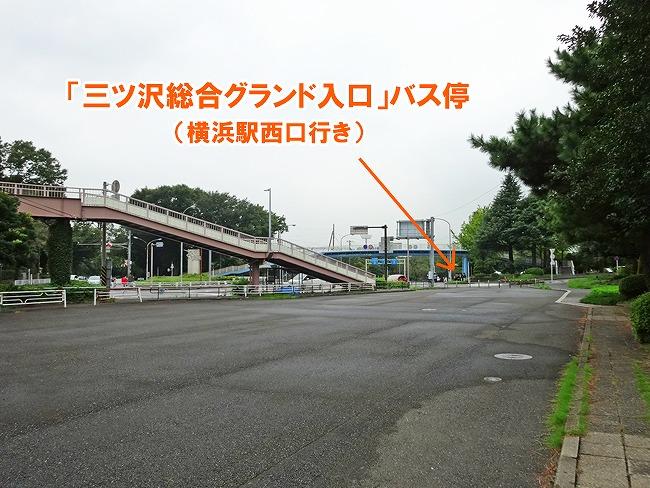 「三ツ沢総合グランド入口」バス停までの道のり