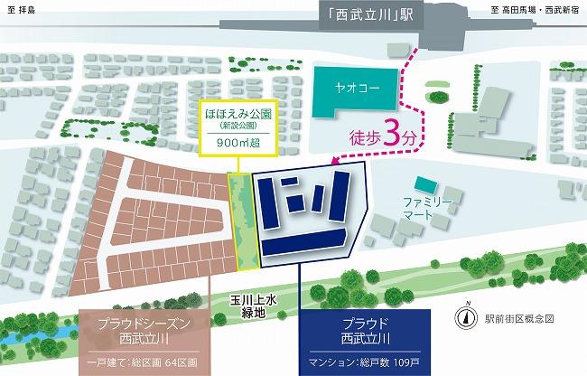 「プラウド西武立川」駅前街区概念図