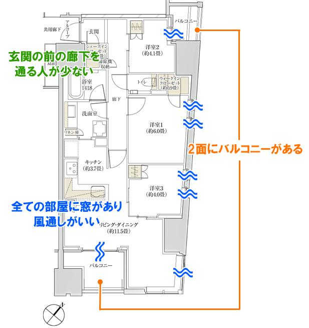 「ザ・パークハウス 日本橋大伝馬町」Lタイプ 間取り図