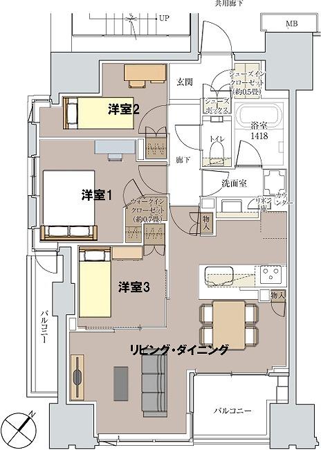 Mタイプ 間取り図(家具配置)