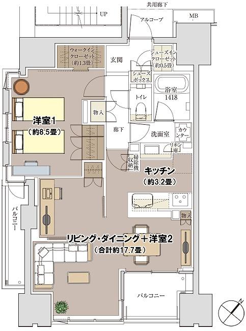Mタイプ(メニュープラン2)間取り図(家具配置)